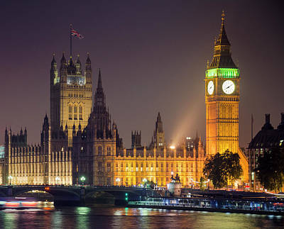 Big Ben At Night, London Art Print by Cescassawin