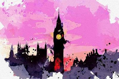 Royalty-Free and Rights-Managed Images - Big Ben Clock Tower, London c2019, watercolor by Adam Asar by Adam Asar