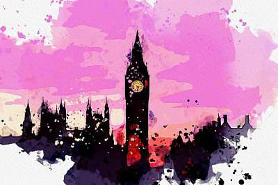 Royalty-Free and Rights-Managed Images - Big Ben Clock Tower, London watercolor by Ahmet Asar by Ahmet Asar
