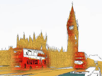 Mixed Media Royalty Free Images - Big Ben London Royalty-Free Image by David Ridley