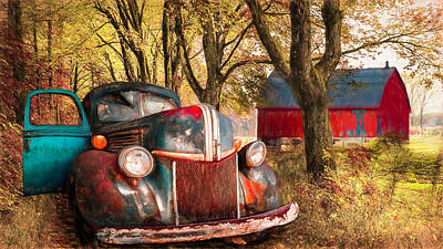 Photograph - Big Blue On The Farm Lane Autumn Painting by Debra and Dave Vanderlaan