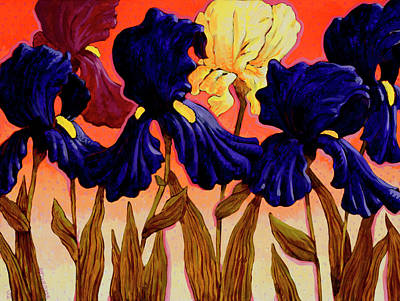 Painting - Big Iris II By John Newcomb, Acrylic On by John Newcomb