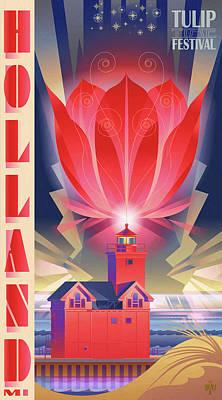 Lake Michigan Digital Art - Big Red, Holland Michigan by Garth Glazier