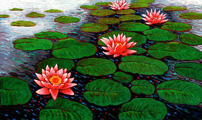 Leaf Painting - Big Water Lilies By John Newcomb by John Newcomb