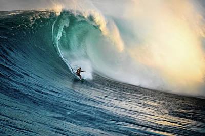 Photograph - Big Wave Surfer At Jaws, Maui, Hawaii by Kjell Linder