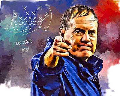 Transportation Digital Art Rights Managed Images - Bill Belichick Do Your Job Portrait Royalty-Free Image by Scott Wallace Digital Designs