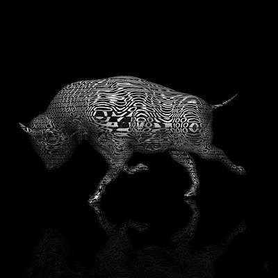 Abenaki Wall Art - Digital Art - Binary Bison by Carmen Hathaway