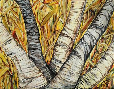 Painting - Birch And Cornfield by Ajp