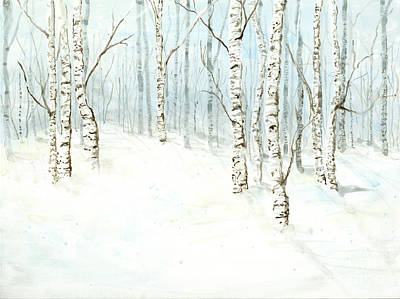 Winter Cabin Painting - Birch Aspen Forest In Winter Snow by Audrey Jeanne Roberts