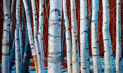 Painting - Birch Trees In Early Winter by Christopher Shellhammer
