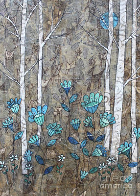 Mixed Media - Birches And Blue Flowers by Janyce Boynton