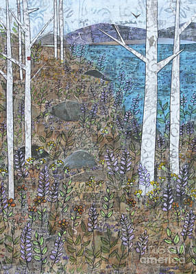 Mixed Media - Birches And Purple Flowers by Janyce Boynton