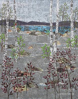 Mixed Media - Birches And Snowfall by Janyce Boynton