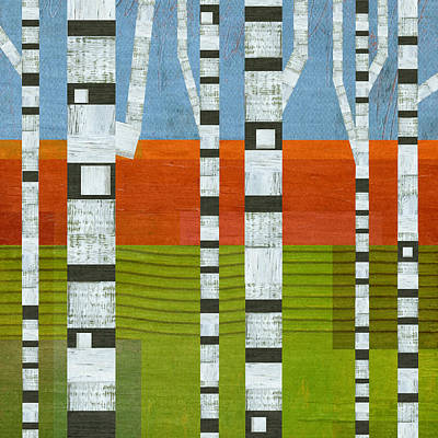 Digital Art - Birches With Olive And Orange 2 by Michelle Calkins