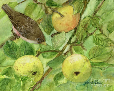 Painting - Bird And Golden Apples by Laurie Rohner