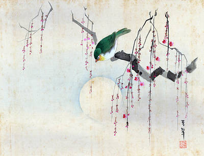 Painting - Bird And Moon by Hotei