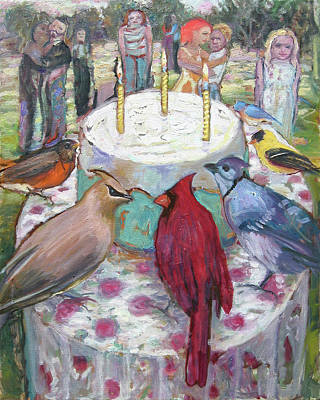 Painting - Bird Day Party by Paul Emory