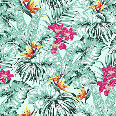 Digital Art - Bird Of Paradise Greenery Aloha Hawaiian Prints Tropical Leaves  by Sharon Mau