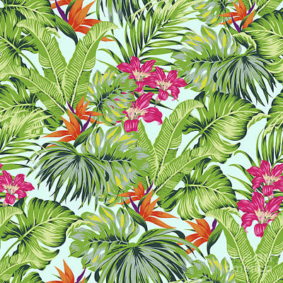Digital Art - Bird Of Paradise Greenery Aloha Hawaiiana Rainforest Tropical by Sharon Mau