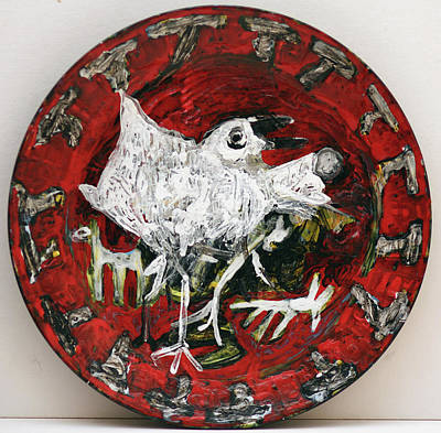 Ceramic Art - Bird On A Ceramic Plate by Artist Dot