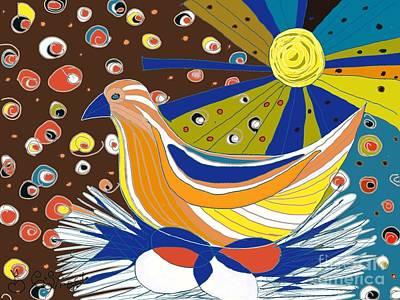 Digital Art - Bird On Eggs by Caroline Street