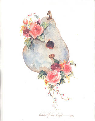 Wall Art - Painting - Birdhouse And Blossoms I by Carolyn Shores Wright