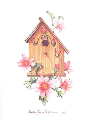 Wall Art - Painting - Birdhouse And Blossoms II by Carolyn Shores Wright
