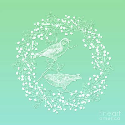 Photograph - Birds And Branches Ombre Mint Wreath by Sharon Mau