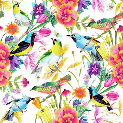 Digital Art - Birds Colourful Floral Motif by Sharon Mau