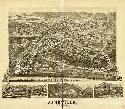 Photograph - Bird's-eye View Of The City Of Asheville by Flavia Westerwelle