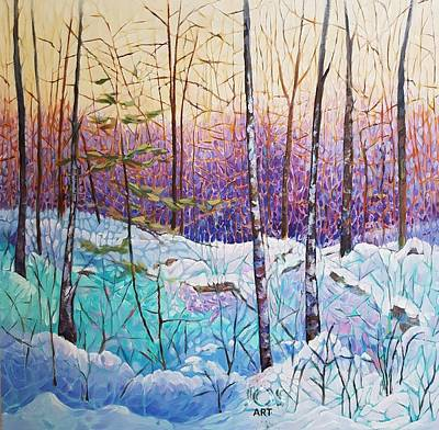 Painting - Birds Hill Trail Winter Walk by Joanne Smoley