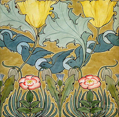 Painting - Birds In Flight Design by Charles Francis Annesley Voysey