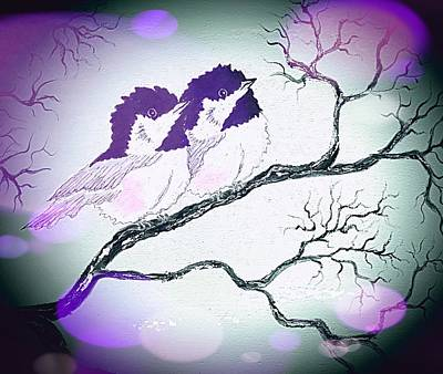 Moody Trees - Birds in love purple dark stardust  by Angela Whitehouse