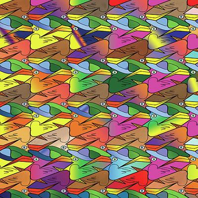 Digital Art - Birds 'n Hatz by Rosa Dorenbos