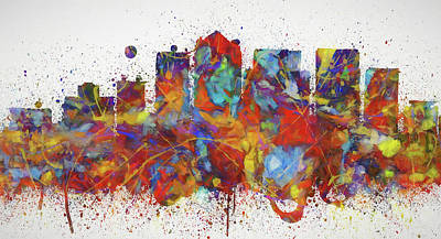 Painting - Birmingham Colorful Skyline by Dan Sproul
