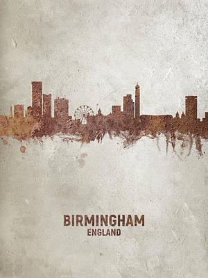 Digital Art - Birmingham England Rust Skyline by Michael Tompsett