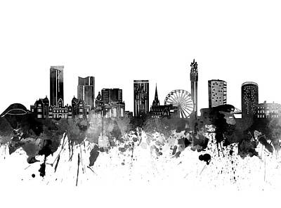 Abstract Skyline Royalty-Free and Rights-Managed Images - Birmingham Skyline Bw by Bekim M