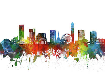 Abstract Skyline Royalty-Free and Rights-Managed Images - Birmingham Skyline Watercolor 2 by Bekim M