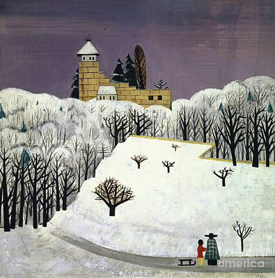 Painting - Birseck Castle In The Snow, 1922  by Fritz Baumann