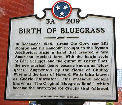Photograph - Birth Of Bluegrass Plaque - Nashville by Allen Beatty