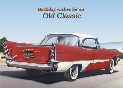 Painting - Birthday Wishes For An Old Classic Greeting Card - 1957 De Soto Fireflight Antique Automobile by Walt Curlee