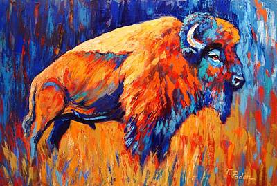 Wall Art - Painting - Bison At Dusk by Theresa Paden