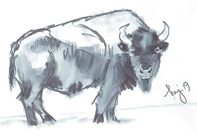 Drawing - Bison Black And White Watercolor Sketch by Mike Jory