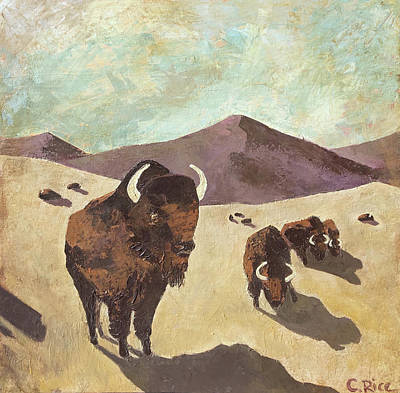 Painting - Bison Woodstock Set by Chris Rice