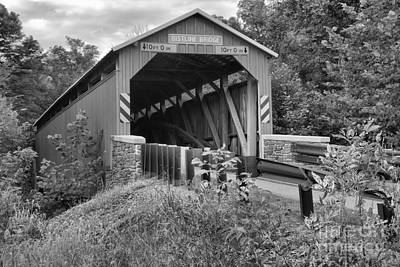 Photograph - Bistline Covered Bridge Black And White by Adam Jewell