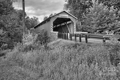 Photograph - Bistline Covered Bridge Lush Landscape Black And White by Adam Jewell