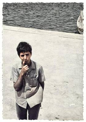 Lucille Ball - Bizarre snapshot young man guy posing on beach unusual angle male photo colorized by Ahmet Asar by Ahmet Asar