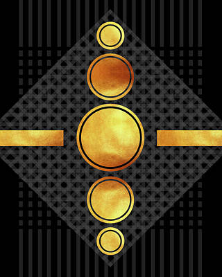 Mixed Media - Black And Gold Abstract - Modern Geometric Abstract - Pattern Design - Art Deco Abstract by Studio Grafiikka