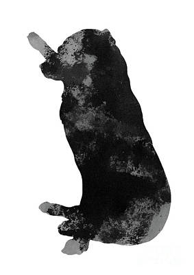 Painting - Black And Grey Silhouette Of A Labrador With A Stick by Joanna Szmerdt