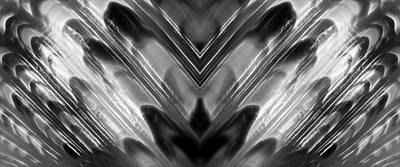Photograph - Black And White Abstract Shell Panoramic by Gill Billington